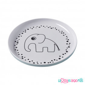 PLATO ELEFANTE HAPPY DOTS - AZUL