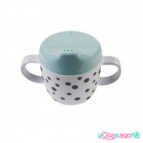 TAZA CON 2 ASAS Y BOQUILLA HAPPY DOTS - MINT