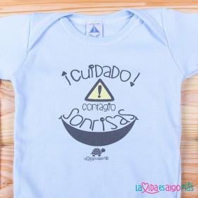 """BODY C/AMERICANO """"CUIDADO, CONTAGIO SONRISAS"""" - AZUL"""