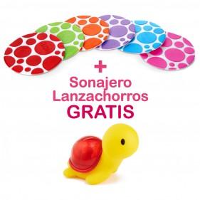 PROMOCIÓN 6 MINI ALFOMBRILLAS  ANTIDESLIZANTES + JUGUETE BAÑO SONAJERO LANZACHORROS