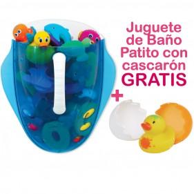 PROMOCIÓN RECOGEDOR JUGUETES DE BAÑO + PATITO CON SU CASCARÓN