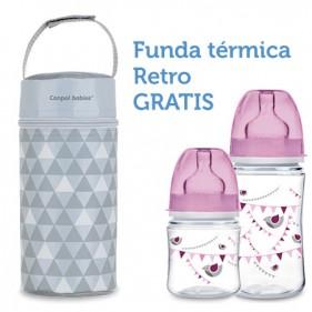 PROMO 2 BIBERONES LET'S CELEBRATE ROSA + REGALO FUNDA TÉRMICA GRIS