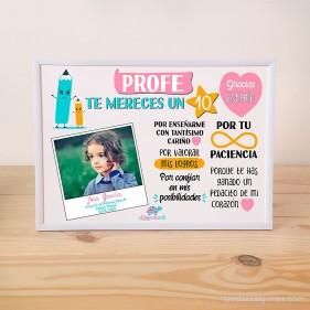 """LÁMINA PERSONALIZADA """"PROFE TE MERECES UN 10"""" CON FOTO + MARCO - ROSA"""