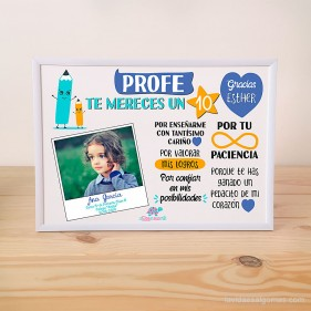 """LÁMINA PERSONALIZADA """"PROFE TE MERECES UN 10"""" CON FOTO + MARCO - AZUL"""