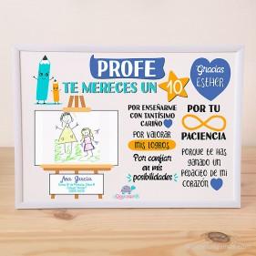 """LÁMINA PERSONALIZADA """"PROFE TE MERECES UN 10"""" CON DIBUJO + MARCO - AZUL"""