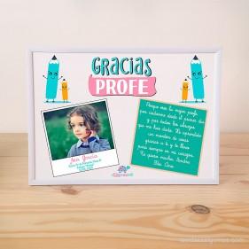 """LÁMINA PERSONALIZADA """"GRACIAS PROFE"""" CON FOTO Y DEDICATORIA + MARCO - ROSA"""