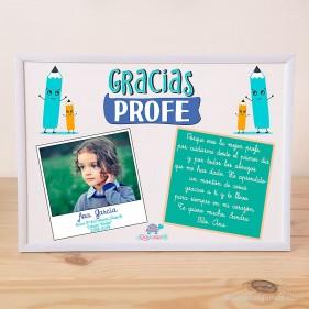 """LÁMINA PERSONALIZADA """"GRACIAS PROFE"""" CON FOTO Y DEDICATORIA + MARCO - AZUL"""
