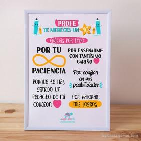 """LÁMINA """"PROFE TE MERECES UN 10"""" + MARCO"""