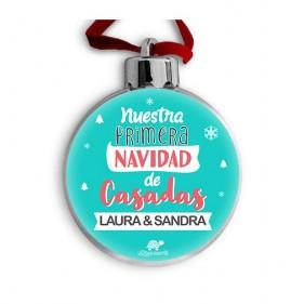 """BOLA DE NAVIDAD PERSONALIZADA """"NUESTRA PRIMERA NAVIDAD DE CASADAS"""" MINT + FOTO"""