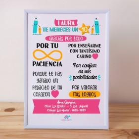 """LÁMINA PERSONALIZADA """"PROFE TE MERECES UN 10"""" + MARCO"""