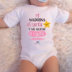 """BODY PERSONALIZADO """"MI MADRINA ES GENIAL"""" M/C - ROSA"""