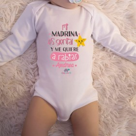 "BODY PERSONALIZADO ""MI MADRINA ES GENIAL"" M/L - ROSA"