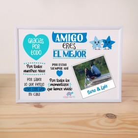 """LÁMINA PERSONALIZADA """"AMIGO ERES EL MEJOR"""" + MARCO"""