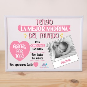 "LÁMINA PERSONALIZADA ""TENGO LA MEJOR MADRINA"" + MARCO - ROSA"