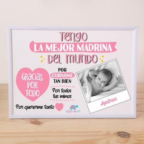 """LÁMINA PERSONALIZADA """"TENGO LA MEJOR MADRINA"""" + MARCO - ROSA"""