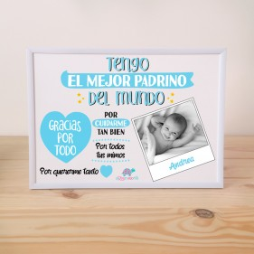 "LÁMINA PERSONALIZADA ""TENGO EL MEJOR PADRINO + MARCO - AZUL"