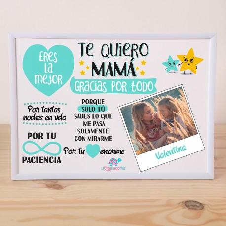 "LÁMINA PERSONALIZADA ""TE QUIERO MAMÁ"" + MARCO - MINT"