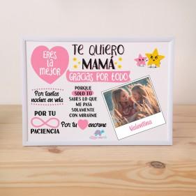 "LÁMINA PERSONALIZADA ""TE QUIERO MAMÁ"" + MARCO - ROSA"