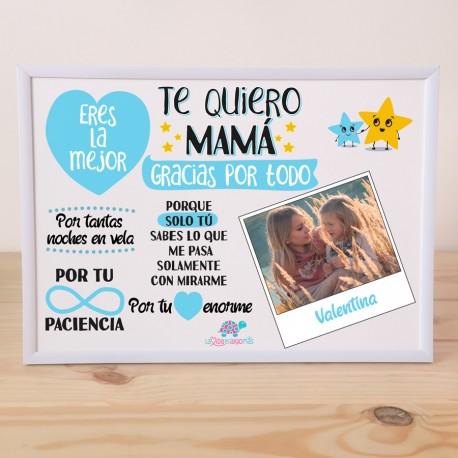 "LÁMINA PERSONALIZADA ""TE QUIERO MAMÁ"" + MARCO - AZUL"