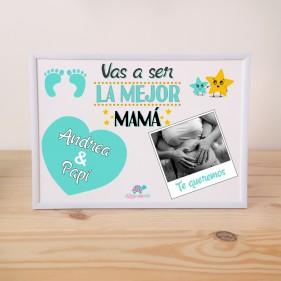 """LÁMINA PERSONALIZADA """"VAS A SER LA MEJOR MAMÁ"""" + MARCO - MINT"""