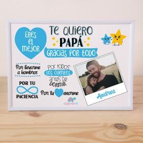 """LÁMINA PERSONALIZADA """"TE QUIERO PAPÁ"""" + MARCO"""