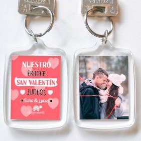 """LLAVERO METACRILATO PERSONALIZADO """"NUESTRO PRIMER SAN VALENTÍN JUNTOS"""" + FOTO"""
