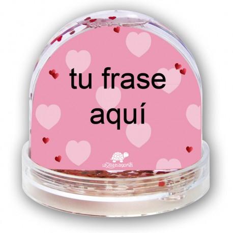 "BOLA DE NIEVE PERSONALIZADA ""FRASE"" + FOTO - ROSA"