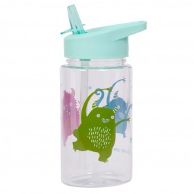 BOTELLA REUTILIZABLE  CON PAJITA 450ML ALLC - MONSTRUOS + PEGATINAS