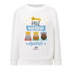 "SUDADERA INFANTIL NAVIDAD PERSONALIZADA ""FELIZ NAVIDAD"" - RUDOLF & PAPÁ NOEL"