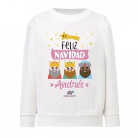 """SUDADERA INFANTIL NAVIDAD PERSONALIZADA """"FELIZ NAVIDAD"""" - REYES MAGOS - ROSA"""