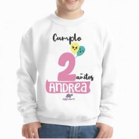 SUDADERA INFANTIL CUMPLEAÑOS 2 AÑITOS (O MÁS) PERSONALIZADA - ROSA