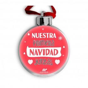 """BOLA DE NAVIDAD PERSONALIZADA """"NUESTRA PRIMERA NAVIDAD JUNTAS"""" + FOTO"""