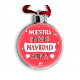 """BOLA DE NAVIDAD PERSONALIZADA """"NUESTRA PRIMERA NAVIDAD JUNTOS"""" + FOTO"""