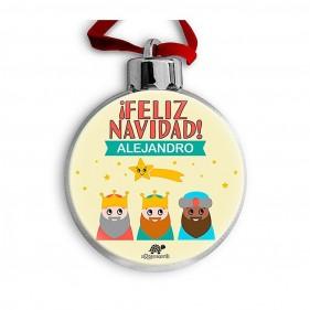 BOLA DE NAVIDAD PERSONALIZADA REYES MAGOS AMARILLO + FOTO