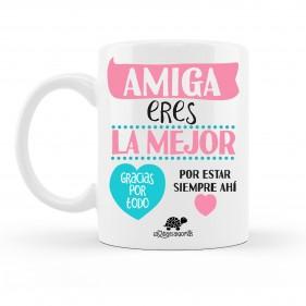 """TAZA PERSONALIZADA """"AMIGA ERES LA MEJOR"""" + FOTO - ROSA/MINT"""