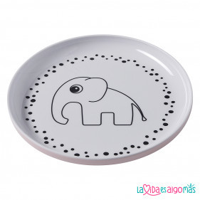 PLATO ELEFANTE HAPPY DOTS - ROSA