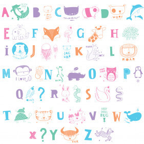SET DE LETRAS & ANIMALES ABC PASTEL PARA LIGHTBOX