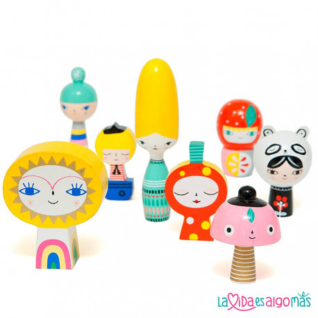 SET 8 FIGURAS DE MADERA - MR SUN & FRIENDS