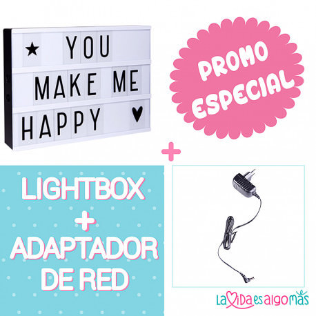 PACK LIGHTBOX A4 - NEGRO + ADAPTADOR DE RED NEGRO