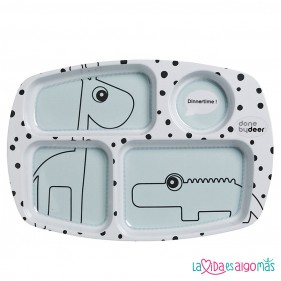 PLATO CON COMPARTIMENTOS HAPPY DOTS -  MINT