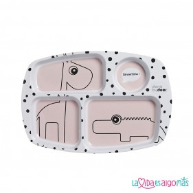 PLATO CON COMPARTIMENTOS HAPPY DOTS - ROSA