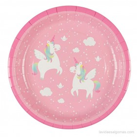 SET DE 8 PLATOS - UNICORNIO