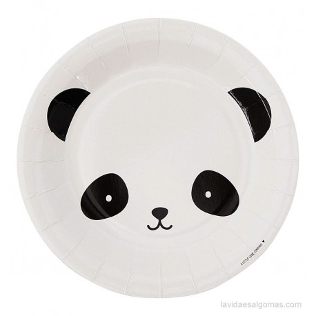 SET DE 12 PLATOS DE PAPEL - PANDA