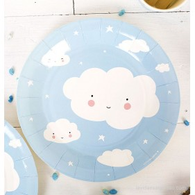 SET DE 12 PLATOS DE PAPEL - NUBES