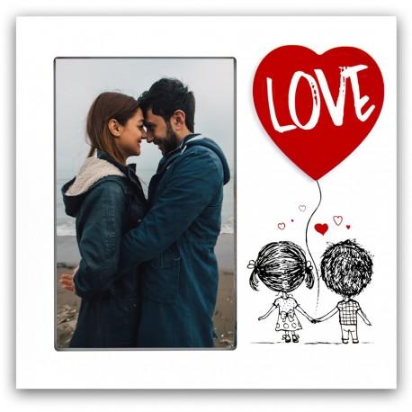 """MARCO FOTOS PERSONALIZADO CON FOTO """"GLOBO LOVE"""" - BLANCO"""