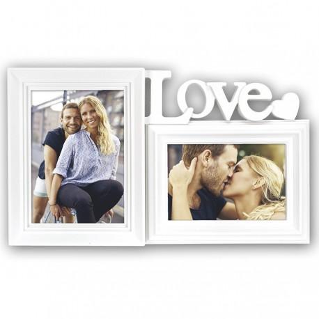 """MARCO FOTOS DOBLE PERSONALIZADO CON FOTOS """"LOVE"""" - BLANCO"""