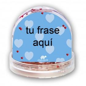 "BOLA DE NIEVE PERSONALIZADA ""FRASE"" + FOTO - AZUL"