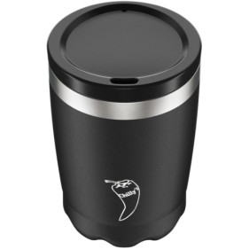 VASO ACERO INOXIDABLE CON TAPA CHILLY'S 340ML - NEGRO
